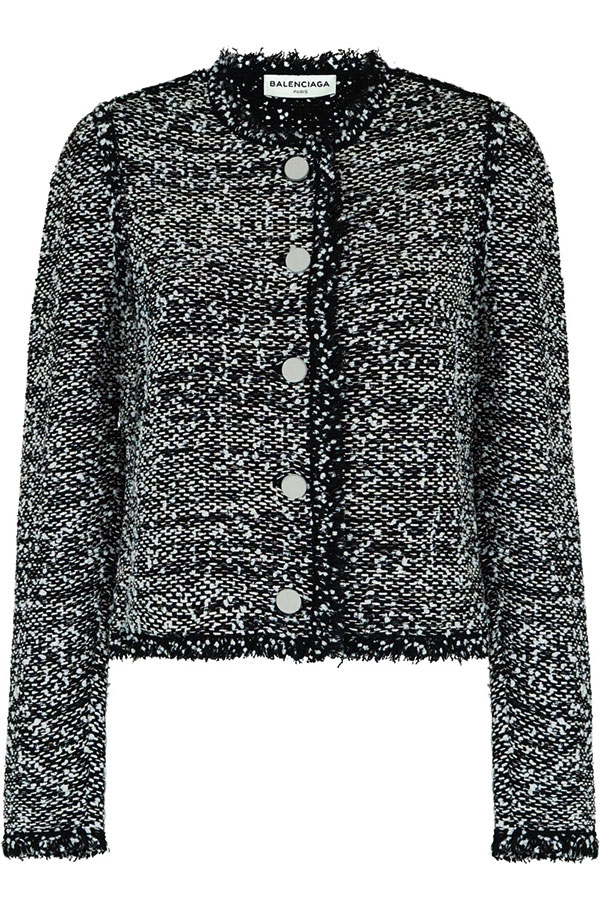24.Balenciaga-Collarless-Single-Breasted-Tweed-Jacket-Black-$1825