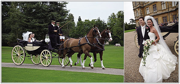 bride-and-groom-arrive-at-highclere-castle-in-horse-and-carriage