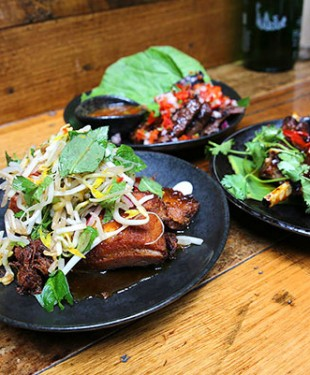 Rice-Paper-Scissors-18-Sticky-Pork-Belly-Muu-Krob-Twice-Cooked-Pork-in-a-Tamarind-Caramel-Sauce-Topped-with-a-Fragrant-Herb-Salad-12edit